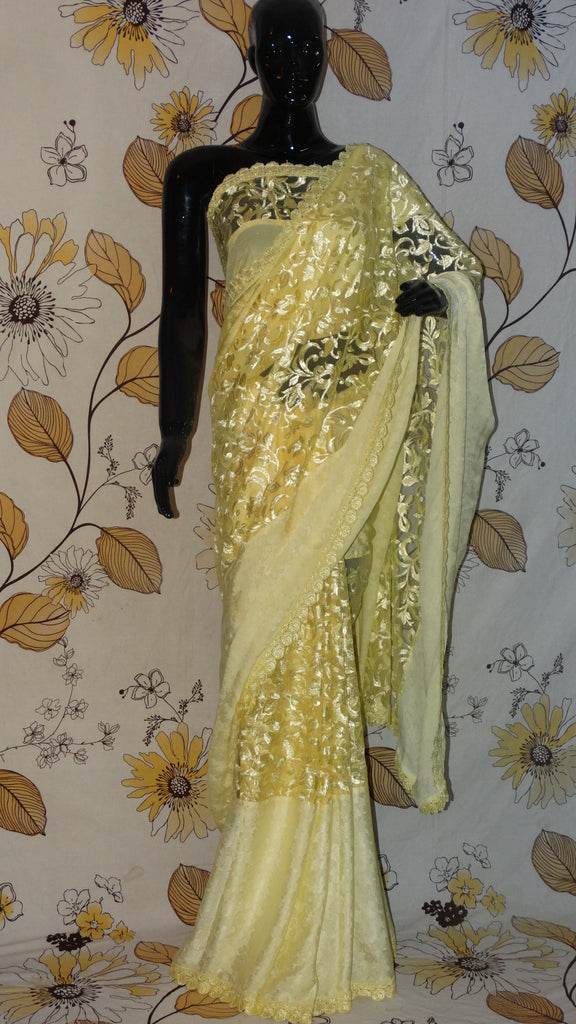 Rang Riwaaz Pure Crepe Silk and Net Lemon Yellow Saree - Heavy embroidery on net  and Shuttle lace border RangRiwaaz