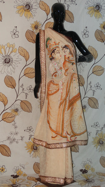 Pure Crepe Beige with Self Saree - Hand painted Monotone Radha-Krishna on pallu