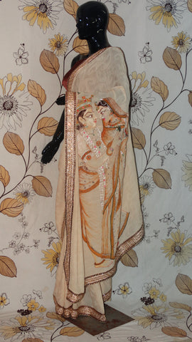 Rang Riwaaz Pure Crepe Beige with Self Saree - Hand painted Monotone Radha-Krishna on pallu RangRiwaaz