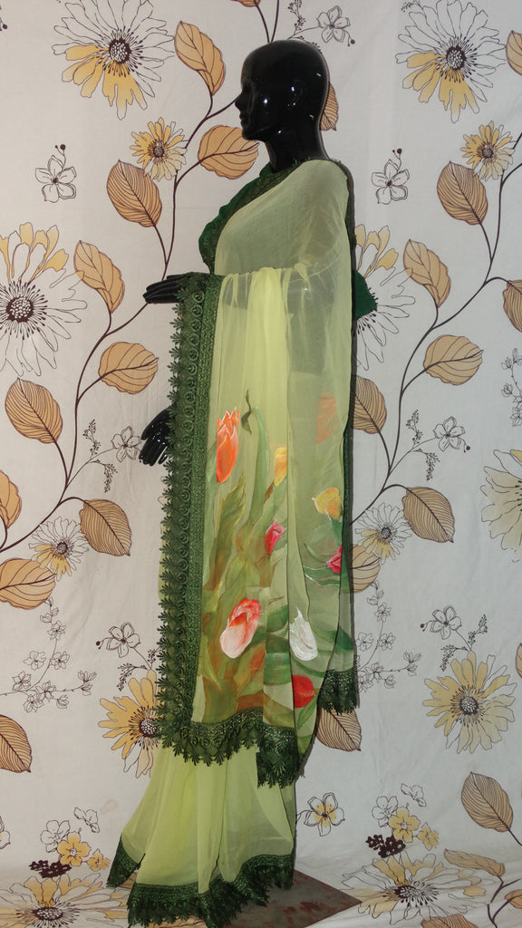 Rang Riwaaz Pure Chiffon  Lemon Green Saree - Hand painted colourful Tulips on pallu RangRiwaaz