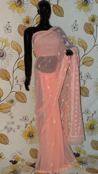 Rang Riwaaz Chikankari Peach Georgette Saree - Cotton thread chikan and sequins RangRiwaaz