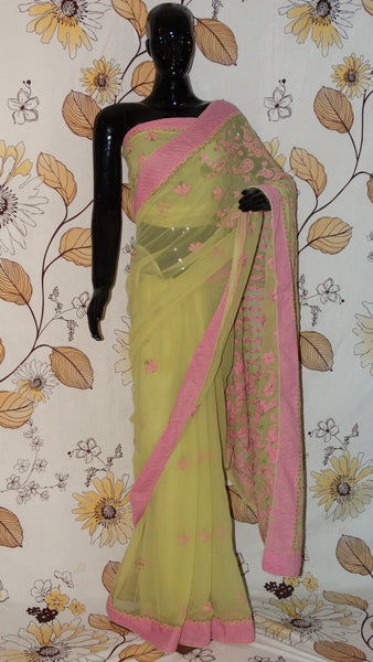 Rang Riwaaz Chikankari Pear Green and Pink Georgette Saree - Cotton thread chikan with patch border RangRiwaaz