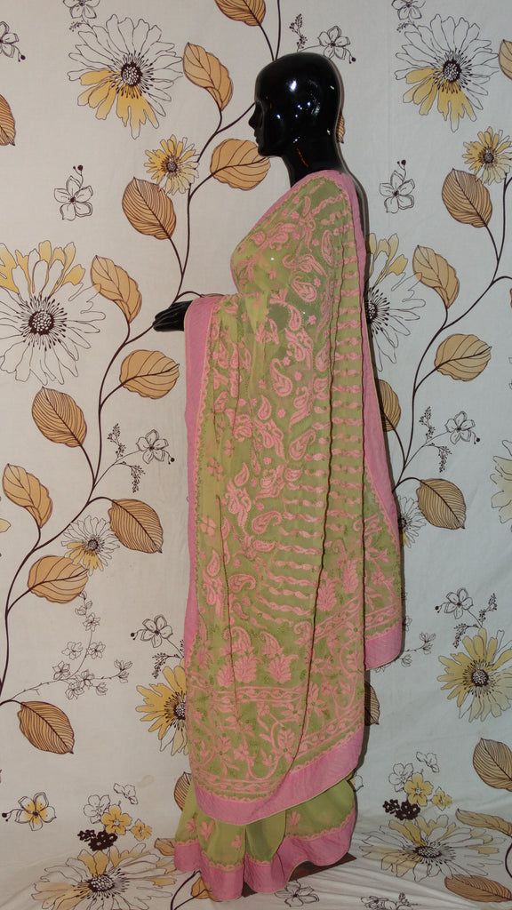 Chikankari Pear Green and Pink Georgette Saree - Cotton thread chikan with patch border