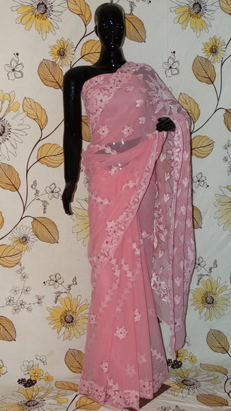 Rang Riwaaz Chikankari Pink Georgette Saree - Cotton thread chikan with all over chhadi and heavy pallu RangRiwaaz