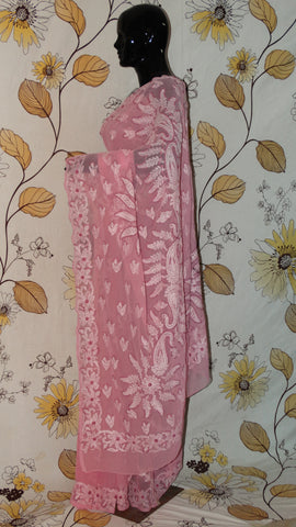 Chikankari Pink Georgette Saree - Cotton thread chikan with all over chhadi and heavy pallu