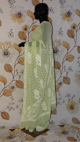 Chikankari Lemon Green Georgette Saree - Silk thread Chikan with light border and pallu