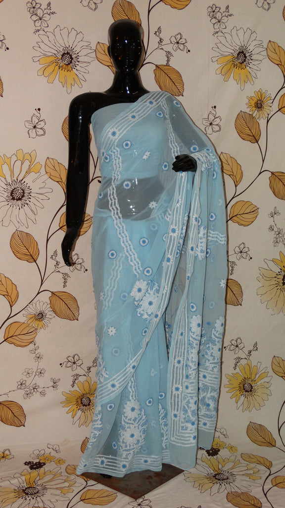 Rang Riwaaz Chikankari Sky Blue Georgette Saree - Cotton thread chikan with heavy border and pallu RangRiwaaz