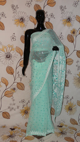 Rang Riwaaz Chikankari Sea Green Georgette Saree - Silk thread Chikan all over and heavy pallu RangRiwaaz