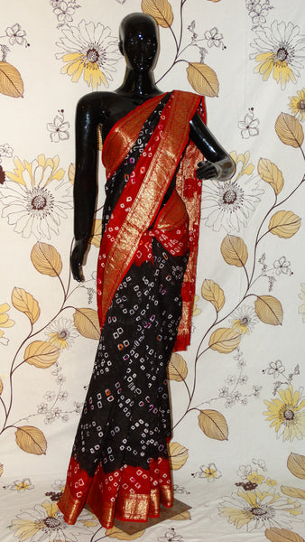 Rang Riwaaz Gajji Silk Black and Red Saree - Bandhani with Zari weave border RangRiwaaz