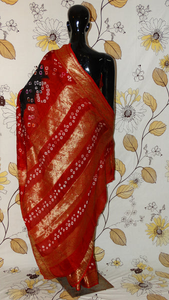Gajji Silk Black and Red Saree - Bandhani with Zari weave border