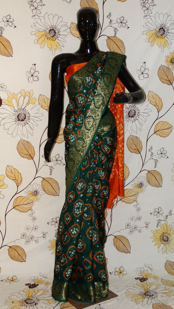 Rang Riwaaz Gajji Silk Green and Orange Saree - Bandhani with Zari and Silk weave border RangRiwaaz