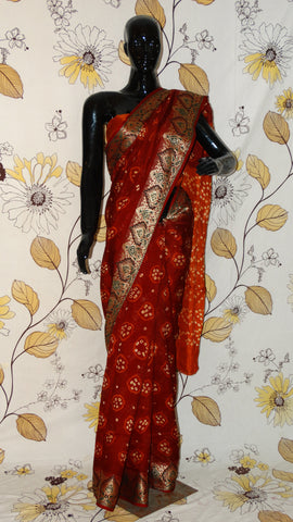 Rang Riwaaz Gajji Silk Maroon and Rust Saree - Bandhani with Zari and Silk weave border RangRiwaaz