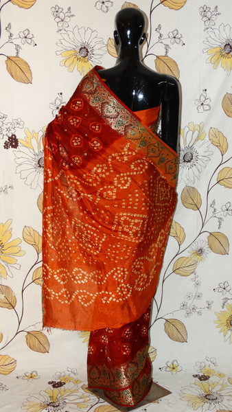 Gajji Silk Maroon and Rust Saree - Bandhani with Zari and Silk weave border