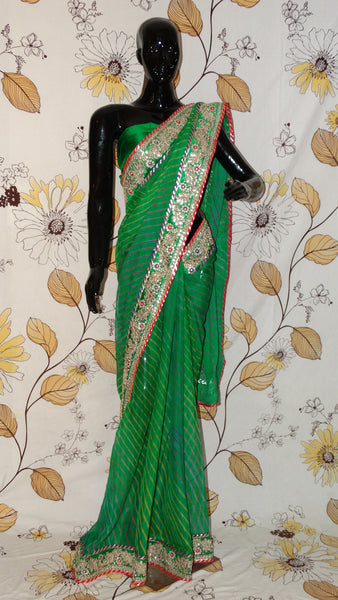 Rang Riwaaz Chiffon Green Multi-coloured Lehariya Saree - Gota patti and Magazi border RangRiwaaz sari bandhej bandhani