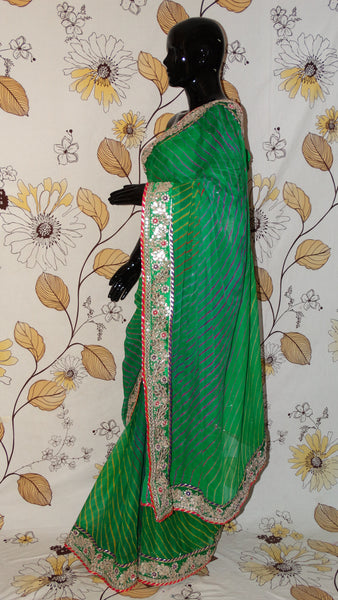 Pure Crepe Multi-coloured Lehariya Green Saree - Gota patti and Magazi border