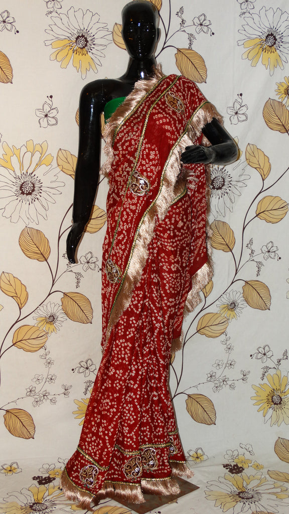 Rang Riwaaz Pure Crepe Maroon Bandhej Saaree - Fine bandhej with dabka motifs and antique golden zari kinari RangRiwaaz