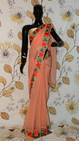 Rang Riwaaz Pure Chiffon Peach Saree - Colourful Roses Parsi embroidery Border RangRiwaaz