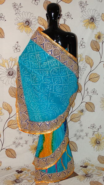 Pure Marble Chiffon Firozi Blue Bandhej Lehariya Saree - Heavy border and magazi kangoora