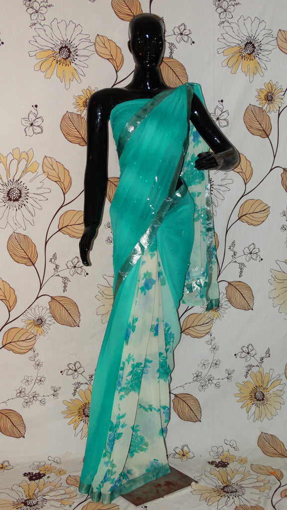 Rang Riwaaz Coral Blue Georgette Saree - Roses and plain pattern with stones RangRiwaaz