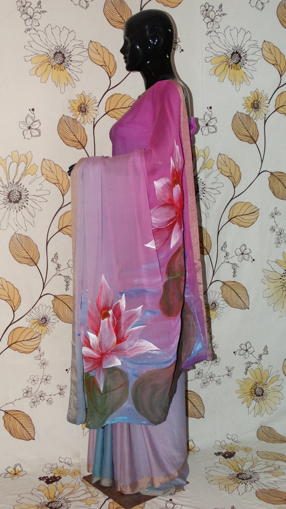 Rang Riwaaz Pure Georgette Silk Mauve and Grey Saree - Hand painted lotus pond on pallu RangRiwaaz
