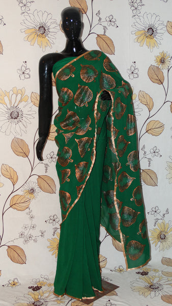 Pure Crepe Bottle Green Saree - Hand painted Copper leaves in half and half pattern
