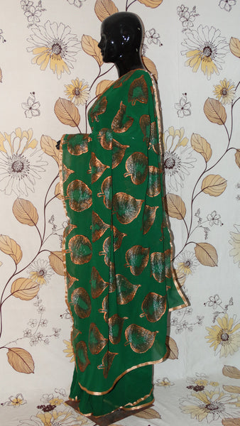 Rang Riwaaz Pure Crepe Bottle Green Saree - Hand painted Copper leaves in half and half pattern RangRiwaaz