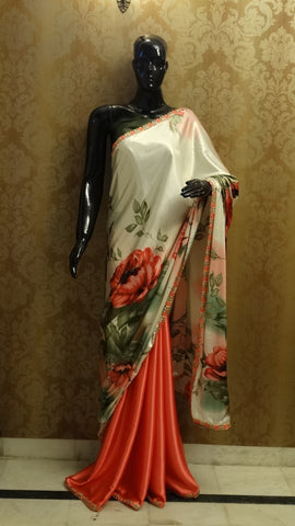 Rose Print with Coral & Green - Satin Peach