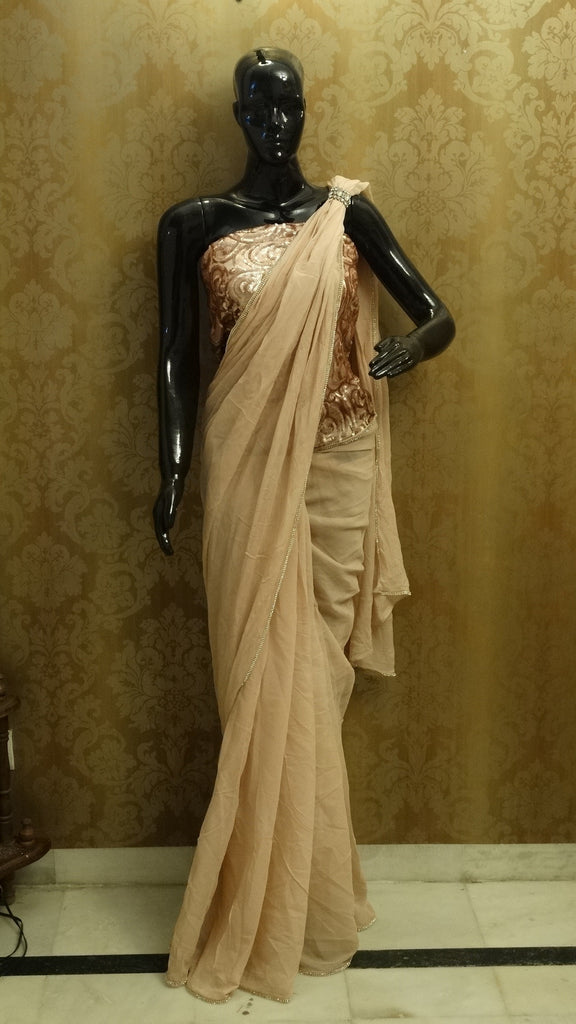 Beige Chiffon saree with Sequins jacket Blouse