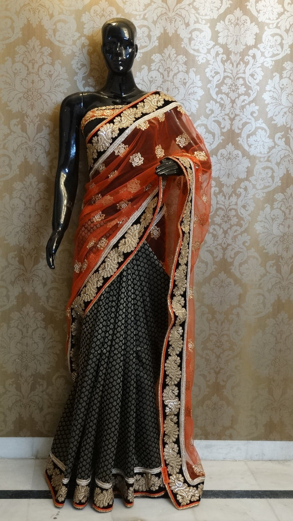 net, brocade, black, orange, half, wedding, winter, party, saree, sari, border, booty