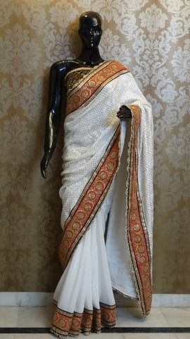 White velvet Sequins with Pure Crepe Half & Half Saree
