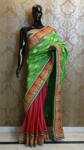 Parrot Green and Fuchsia Pink Pure Silk Brocade Saree