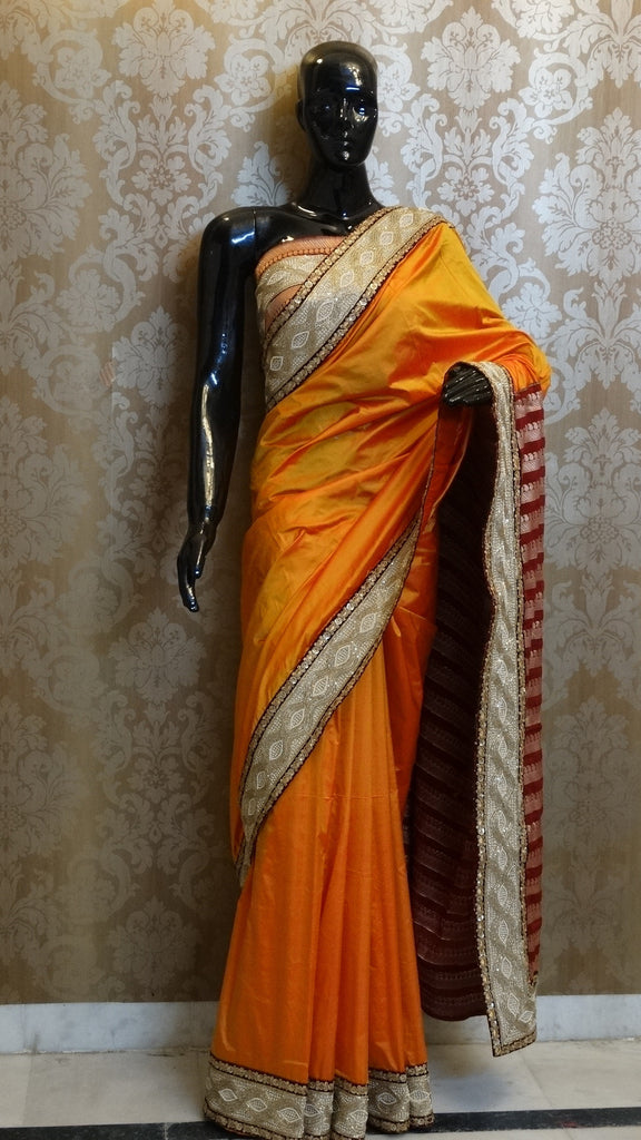 Sunset Yellow with Maroon Pure Silk Brocade Saree with Nalli Pipe border