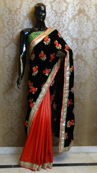 Black Velvel Floral Embroidery with Red Pure Silk Half & Half Saree
