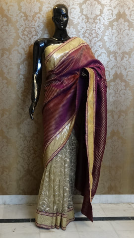 Purple Brocade with Golden Embroidered Net Saree