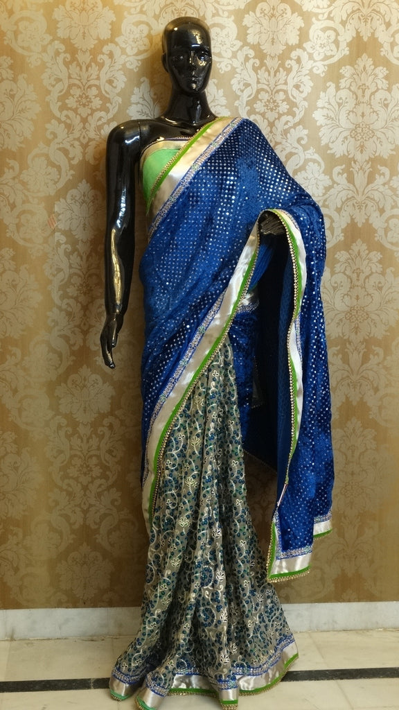 Blue velvet Sequins with Embroidered Net Half & Half Saree