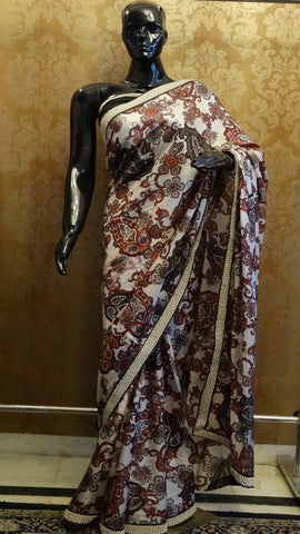 Pure Silk Printed Saree - White with classic pattern print