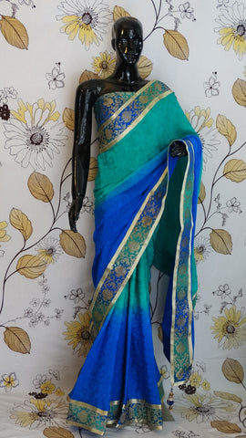 Pure Crepe Silk  Blue Green Saree with Kimkhab Border & Blouse