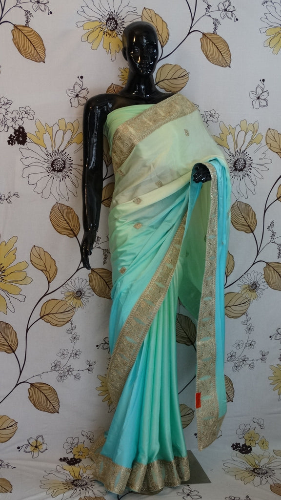 Pure Satin Saree in Pastel shades of blue and green with Kasab Border