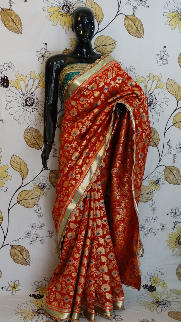 Pure Brocade - Red Bridal Saree