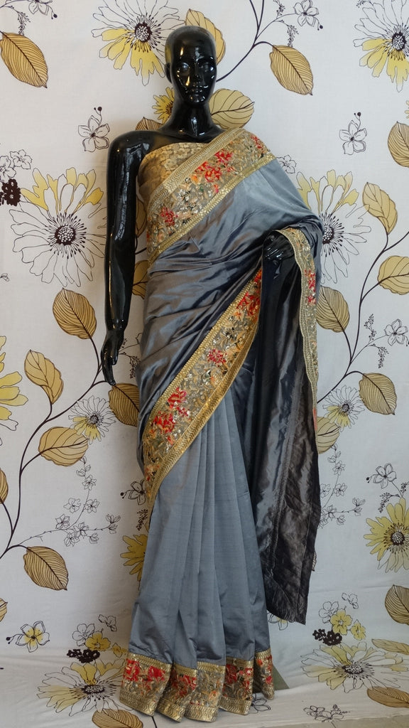 Pure Silk Grey Saree with Pashmina Zari Embroidery Border