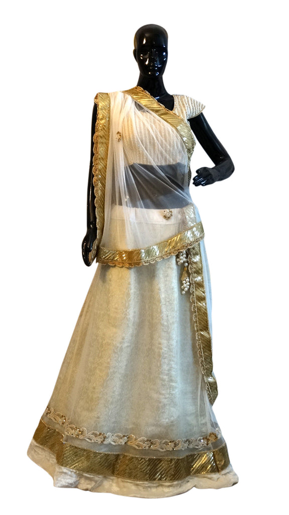White Pure Brocade & Net Lehenga with pearl, sequins and zircon work