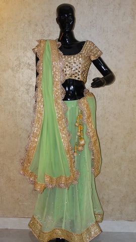 Sea Green Goergette Lehenga