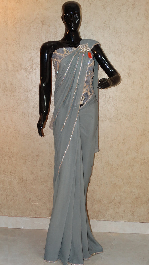 Pure Chiffon - Semi-stiched Grey saree with stone work