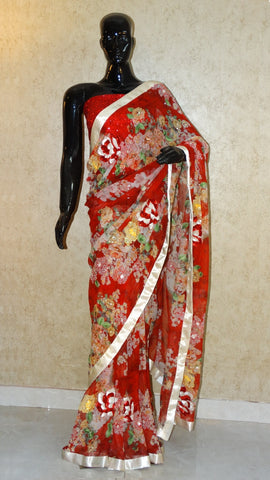 Pure Georgette - Red Floral Bunch Print Saree