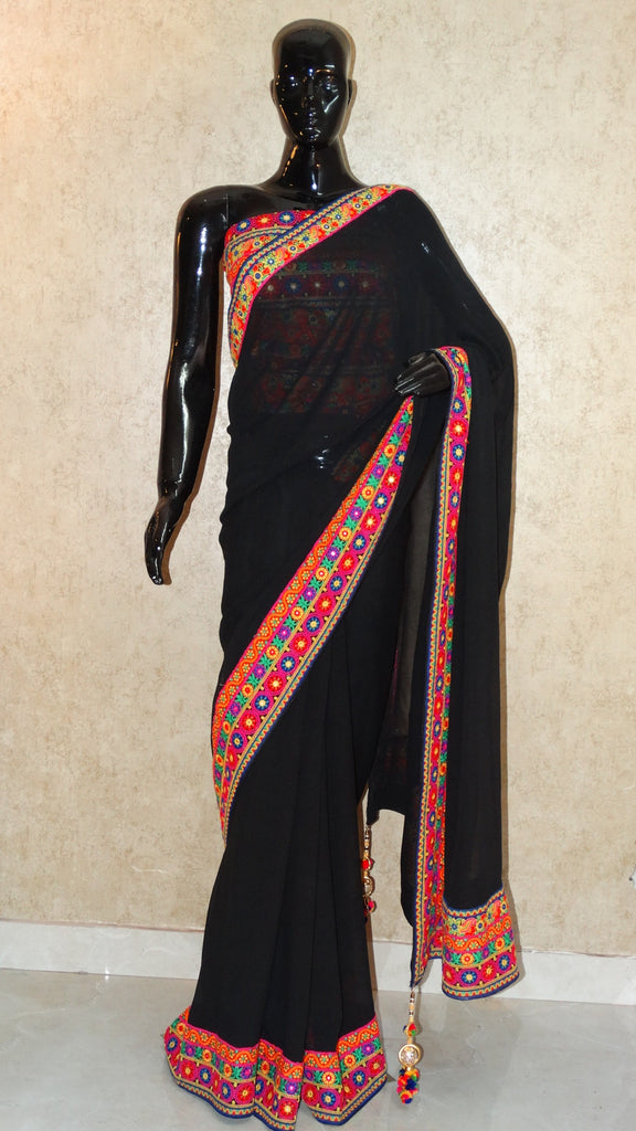 Pure Georgette - Black Saree with Surat Embroidery border