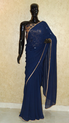 Pure Georgette - Navy Blue Saree with zircon border
