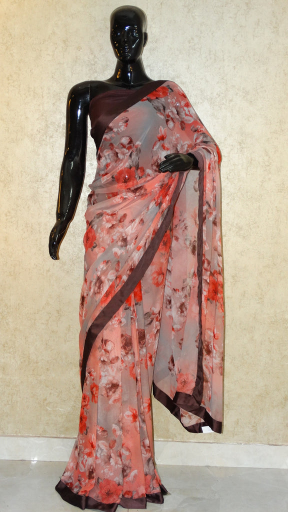 Pure Georgette - Classic colours Rose Print Saree