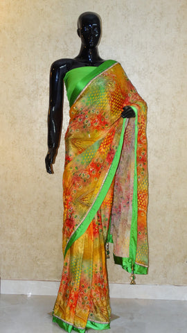 Pure Crepe - Peacock Print with all over Hand work saree