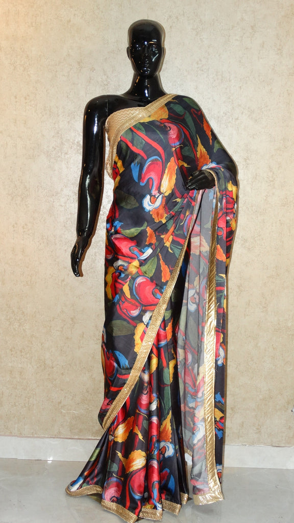 Pure Satin - Abstract Print Saree