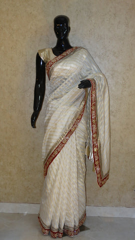 Chanderi Cotton with Kundan Work - Off-white Saree